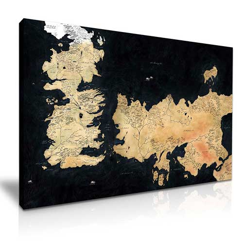Fotografía de un lienzo Siete Reinos, uno de los mejores Mapas de Juego de Tronos