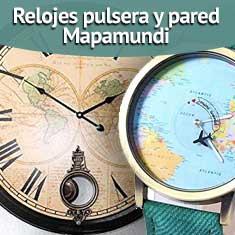 Fotografía de Relojes pulsera y pared Mapamundi